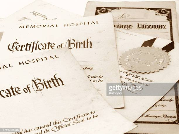 family papers - birth certificate stock pictures, royalty-free photos & images