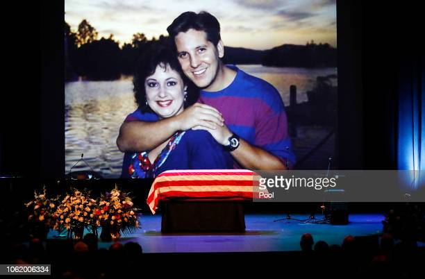 A family photo during a video montage of Ventura County Sheriff Sgt Ron Helus with his wife Karen years ago during Memorial service for Sgt Helus at...