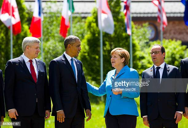 Family photo in the castle garden Elmau of the municipality Krün in Bavaria on June 7, 2015 with the G7summit participants. From left Canadian Prime...