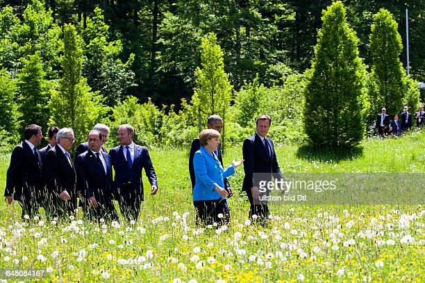 Family photo in the castle garden Elmau of the municipality Krün in Bavaria on June 7, 2015 with the G7summit participants EU Council President...