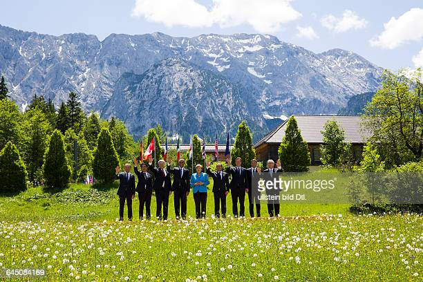 Family photo in the castle garden Elmau of the municipality Krün in Bavaria on June 7, 2015 with the G7summit participants. From left EU Council...