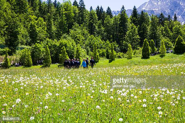 Family photo in the castle garden Elmau of the municipality Krün in Bavaria on June 7, 2015 with the G7summit participantst EU Council President...