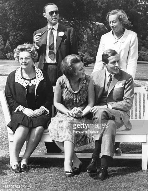 Family photo in the park of Soestdijk Palace after the official announcement of the engagement of Princess Beatrix and Claus Von Amsberg with Queen...