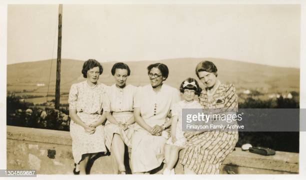 Family photo of Cissie Tull with her niece Jean Tull Warnock and other unidentified women, 1940. She is the sister of He is the brother of English...