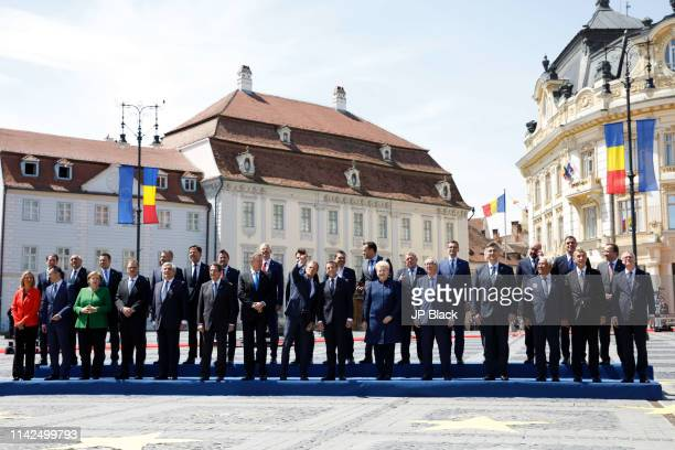 Family photo of the Informal Summit of Heads of State of government of the European Union in Sibiu, Romania.