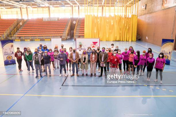 Family photo of those attending the meeting with women athletes from Alcorcon, in the Los Cantos Sports Centre, on 23 September, 2021 in Alcorcon,...