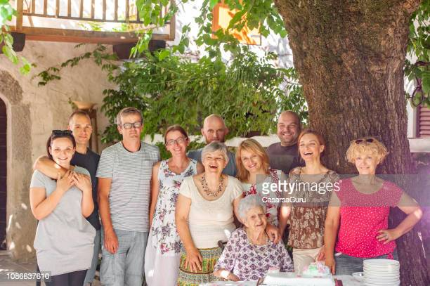 family photo on birthday celebration - 90 plus years stock pictures, royalty-free photos & images