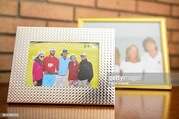 A family photo on display from Wesley Bryan's first win at the Webcom Tour Chitimacha Louisiana Open at his childhood home adjacent to George Bryan...
