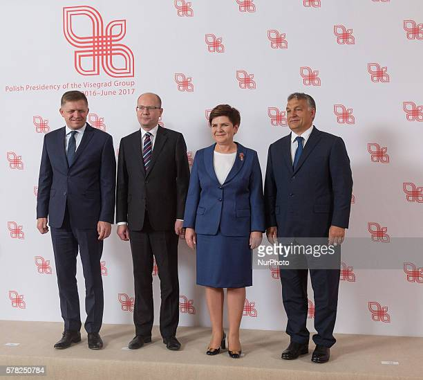 Family Photo Prime Minister of Slovakia Robert Fico, Prime Minister of the Czech Republic Bohuslav Sobotka, Prime Minister of Poland Beata Szydlo and...