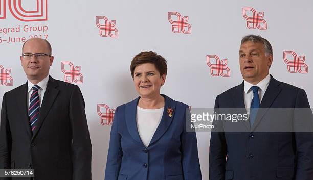 Family Photo Prime Minister of the Czech Republic Bohuslav Sobotka, Prime Minister of Poland Beata Szydlo and Prime Minister of Hungary, Viktor Orban...