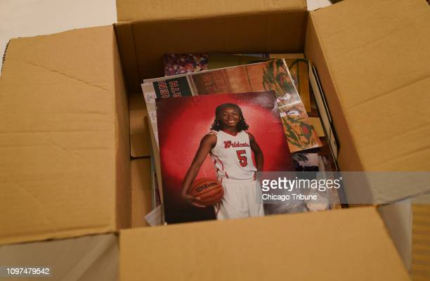 Family photos of Jordan Hankins a Northwestern basketball player who committed suicide in her dorm room in 2017 lay in a box on Jan 16 2019 Hankins'...