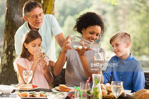 Family picnic outside
