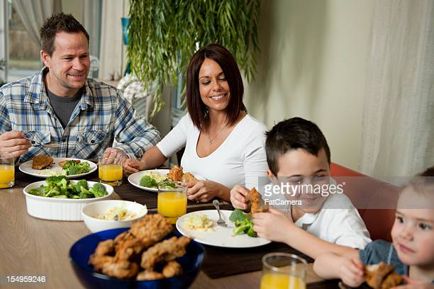 family - fried chicken stock photos and pictures