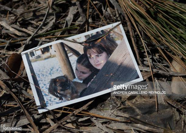 A family picture lies in the grass after being washed out in a storm surge in Port St Joe beach Florida on October 13 three days after hurricane...