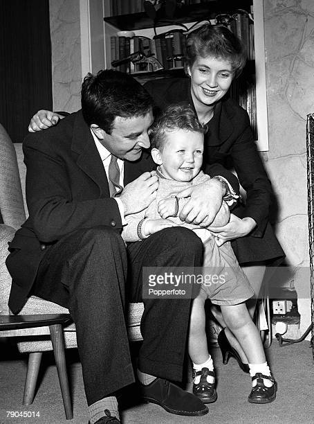 1956 A family picture of British radio television and film star Peter Sellers with his wife Anne Howe and son at his home