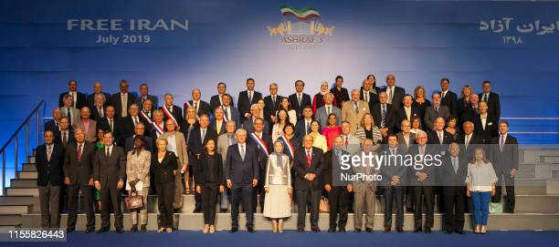 Family picture of Politicians from more than 40 countries arrives at the Iranian Opposition MEK Headquarters on July 12 near Duress in Albania to...