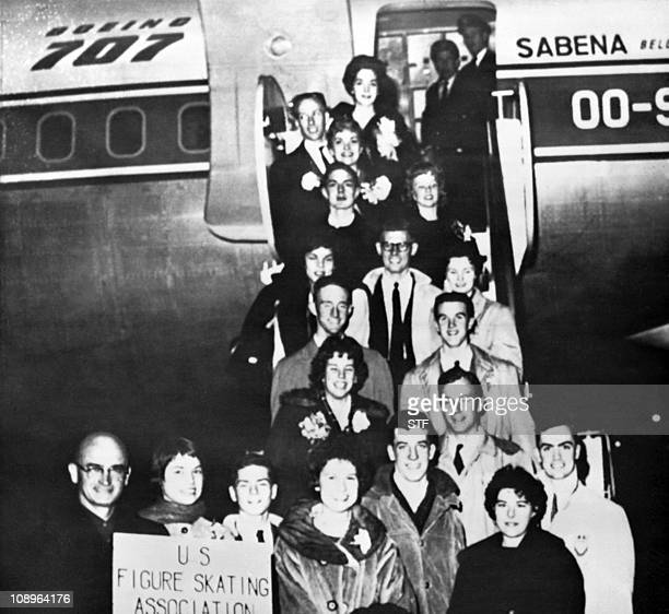 Family picture of the US figure skating team before boarding the Sabena Flight 548, on February 15, 1961 in New-York that crashed near Brussels,...