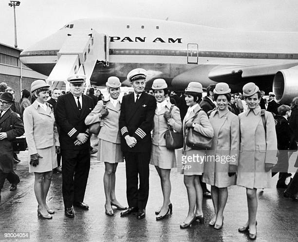 Family picture taken on January 13 1970 of the aircrew of the first commercial flight of the Boeing 747 from New York to London for Pan American On...
