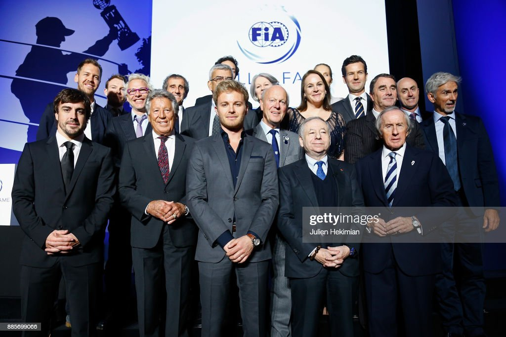 Family picture with, at the first row, Fernando Alonso, Mario Andretti, Nico Rosberg, FIA President Jean Todt and Jackie Stewart pictured during the FIA Hall of Fame Induction ceremony at Automobile Club De France on December 4, 2017 in Paris, France.