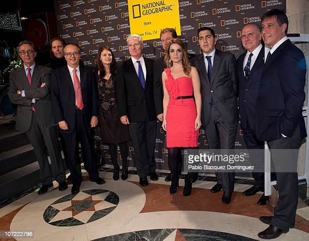 Family picture with Carlos Kinder Simon Pedro Barcelo John Fahey Carme Chaparro and Antonio Cursach during the 'Flagship Store National Geographic'...