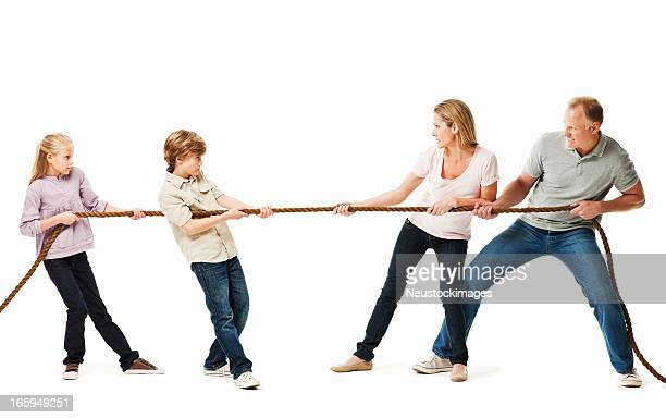 Family Playing a Game of Tug O War - Isolated