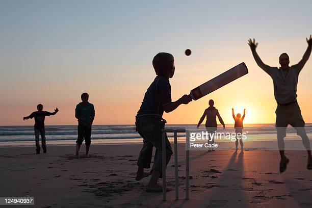 family playing cricket on beach at sunset - cricket stockfoto's en -beelden