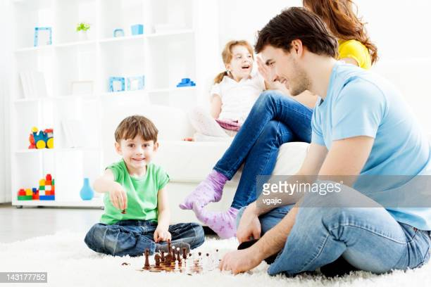Family Playing Games Together at home.
