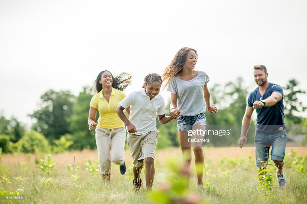 Family Playing Tag : Stock Photo