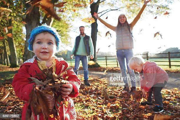 family playing with fallen leaves in park - autumn stock pictures, royalty-free photos & images