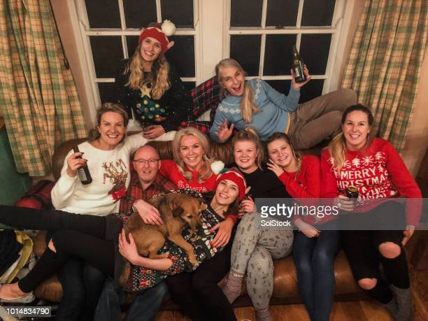 family portrait at christmas - christmas jumper stock photos and pictures