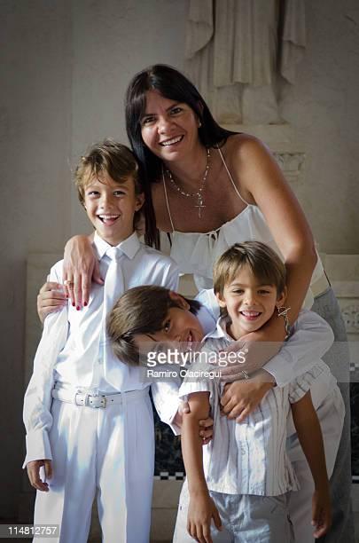 Family portrait first communion church