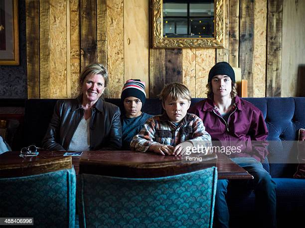 Family portrait in a British pub