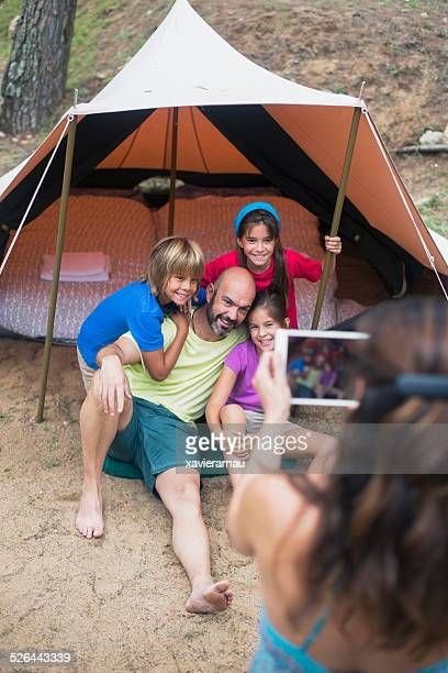 Family portrait in the camping