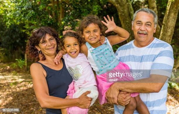 Family Portrait of an Australian Aboriginal Couple with Their Grandaughters