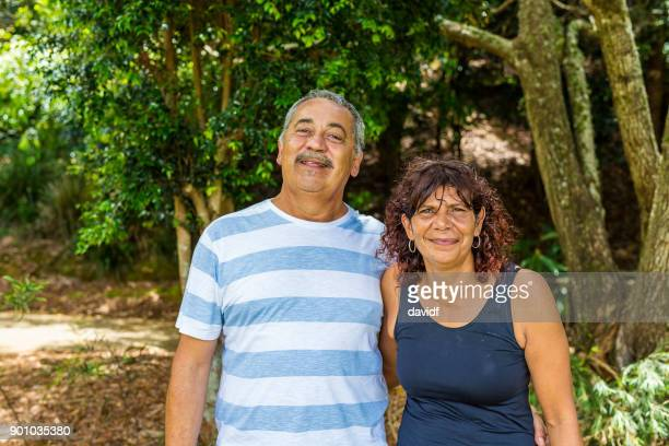 Family Portrait of an Australian Aboriginal Mother and Father Couple