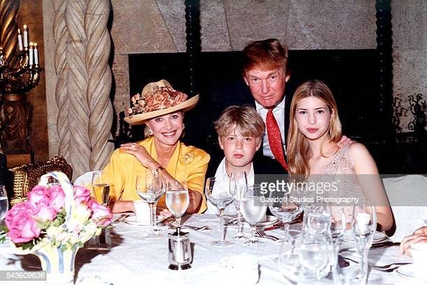Family portrait of from left socialite Ivana Trump her son Eric Trump her former husband businessman Donald Trump and her daughter Ivanka Trump as...