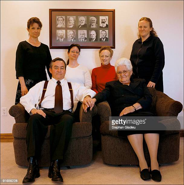 Family portrait of Ray Timpson a polygamist from the small community of Centennial Park and some of the women of his life his mother Donna and four...