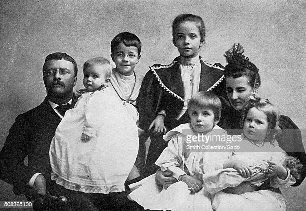 Family portrait of Theodore Roosevelt his second wife Edith and his five children 1895