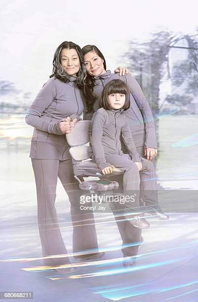 Family portrait of three generations of women