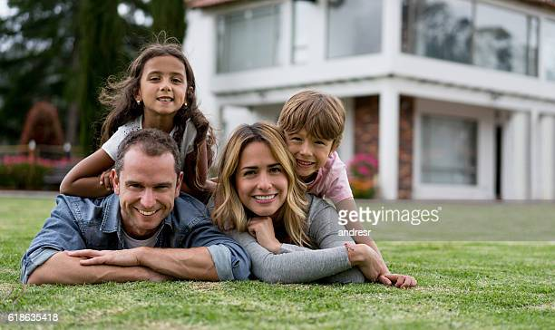 Family portrait outside their house