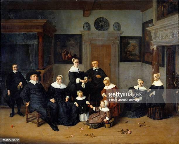 Family Portrait Painting by Adrien Van Ostade 1654 07 x 0 88 m Louvre Museum Paris