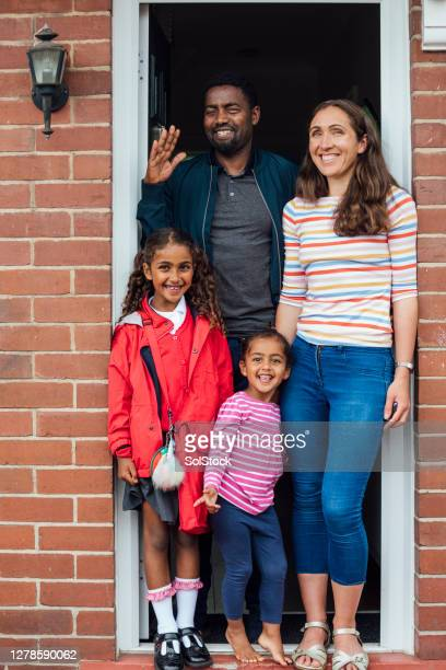 family portrait - doorway stock pictures, royalty-free photos & images