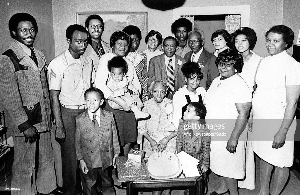 A family portrait showing descendants of Harriet Tubman, including, front row, left to right, Kevin Thomas, 5, the late Mrs Marie K Stewart, Marshall C Booze III, 2, Vanise T Joy, 6 and Bertha M Briscoe, and back row, left to right, Marshall C Booze Jr, C, June 11, 1976.