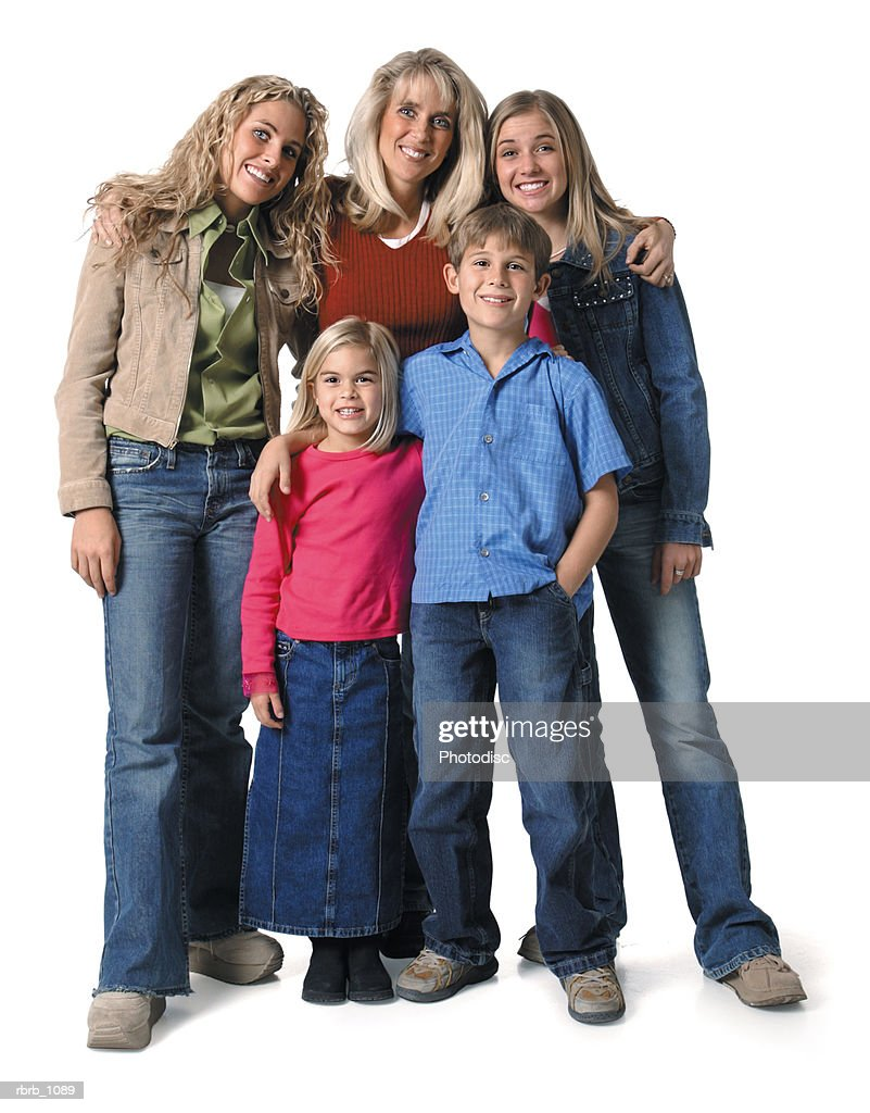 family portrait with a caucasian mother with her three blonde daughters and one son : Stockfoto