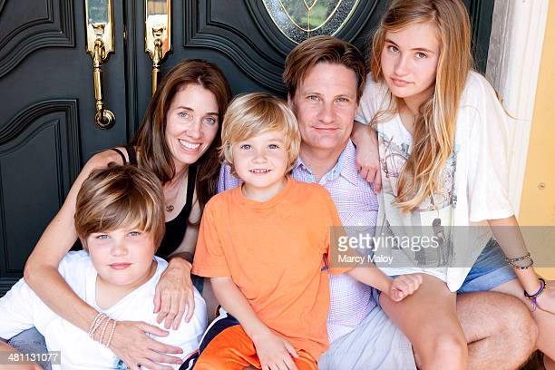 family portrait with three children. - hazel bond stock photos and pictures