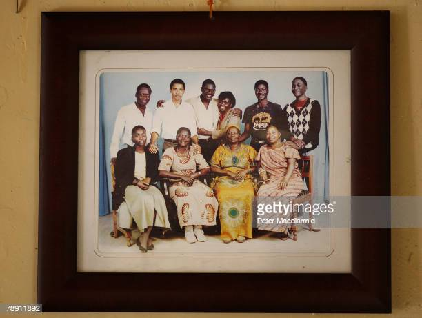 A family portrait with US Senator Barack Obama hangs in his family house on January 12 2008 in Kogelo western Kenya Barack Hussein Obama father of US...
