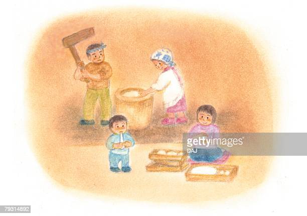 family pounding rice cake, illustration - percussion mallet stock pictures, royalty-free photos & images