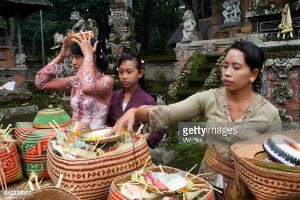 A BALINESE family prays at PURA TIRTA EMPUL a Hindu Temple complex and cold springs TAMPAKSIRING BALI INDONESIA Several people pray and leave...
