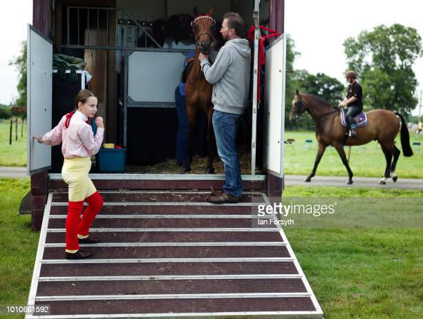 A family prepare their horse ahead of competing during 152nd the Ryedale Country Show on July 31 2018 in Kirbymoorside England Held in Welburn Park...