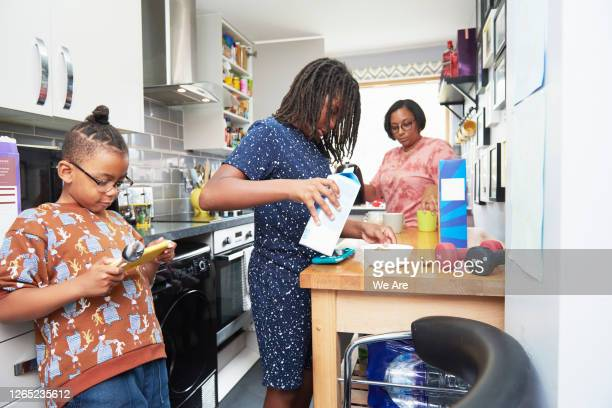 family preparing breakfast in kitchen - flat stock pictures, royalty-free photos & images